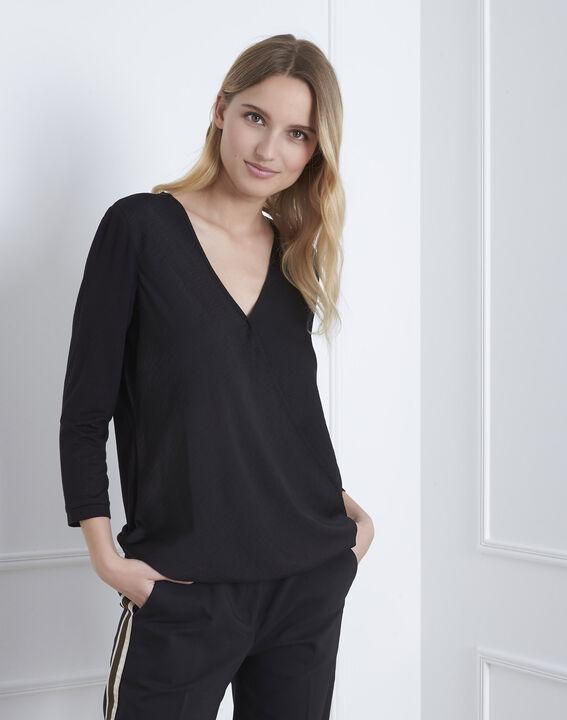 Black bi-material wrap around blouse (2) - Maison 123