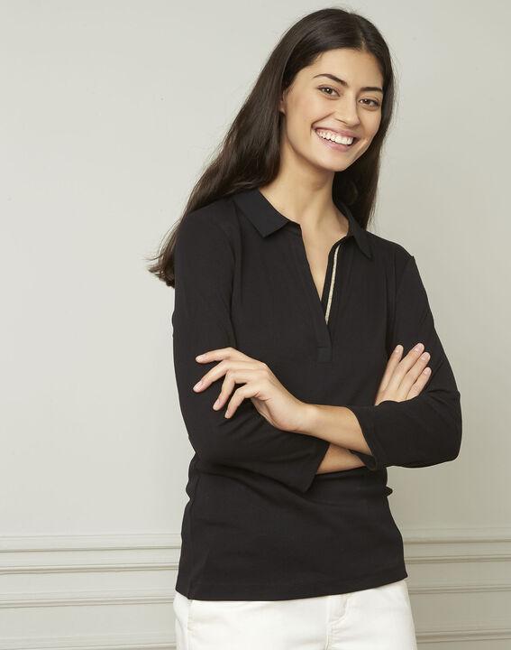 Primerose black lurex T-shirt with V neckline PhotoZ | 1-2-3
