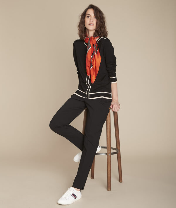 Fontenay black cardigan with striped grosgrain detailing PhotoZ | 1-2-3