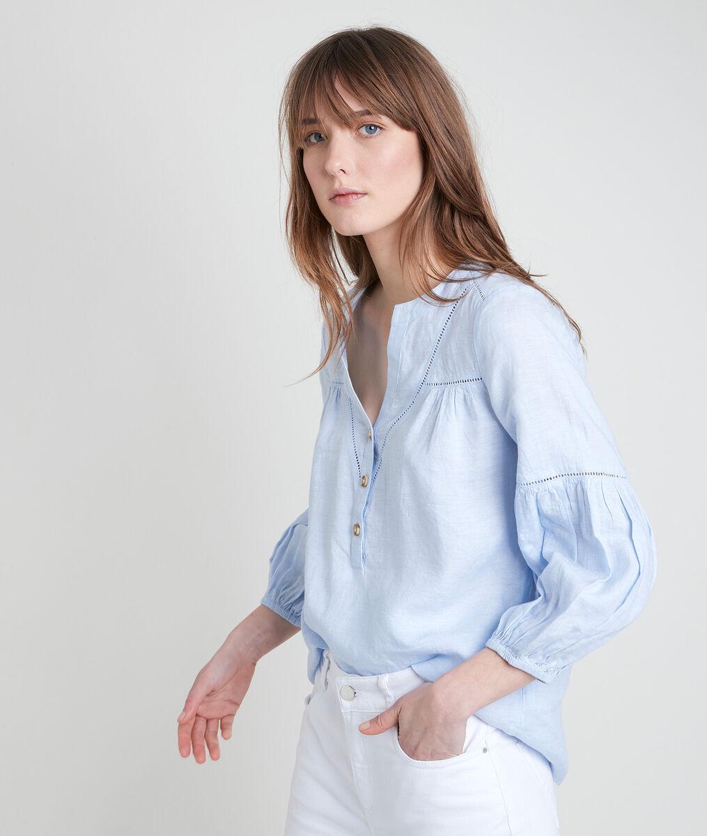TEVI sky blue linen blouse PhotoZ | 1-2-3