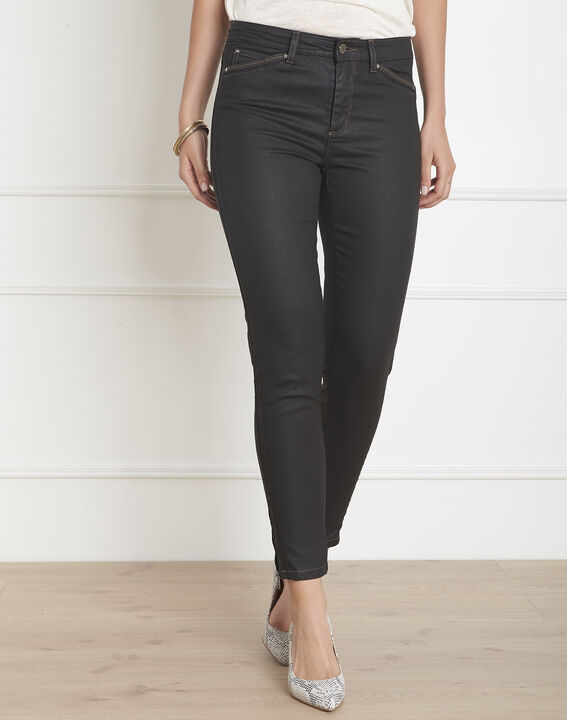 Opera 7/8 length coated black slim-cut jeans (2) - Maison 123