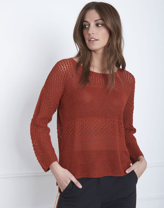 Alesia mahogany patterned cotton/linen knitted jumper (1) - Maison 123