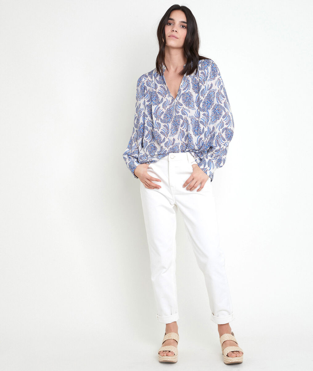 TUNON forget-me-not printed blouse PhotoZ   1-2-3