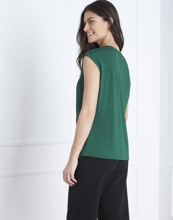 Neptune green bi-material V-neck blouse (4) - Maison 123
