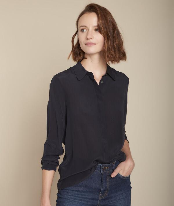 Maelle navy silk shirt PhotoZ | 1-2-3