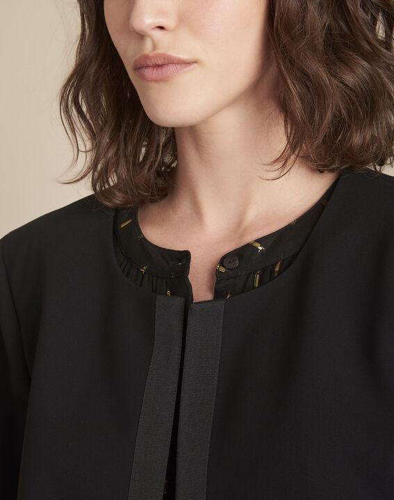 Charme black microfibre and grosgrain jacket (3) - Maison 123