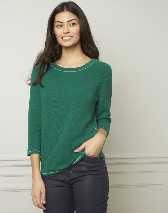 Avocado green pullover with buttons and lurex details PhotoZ | 1-2-3