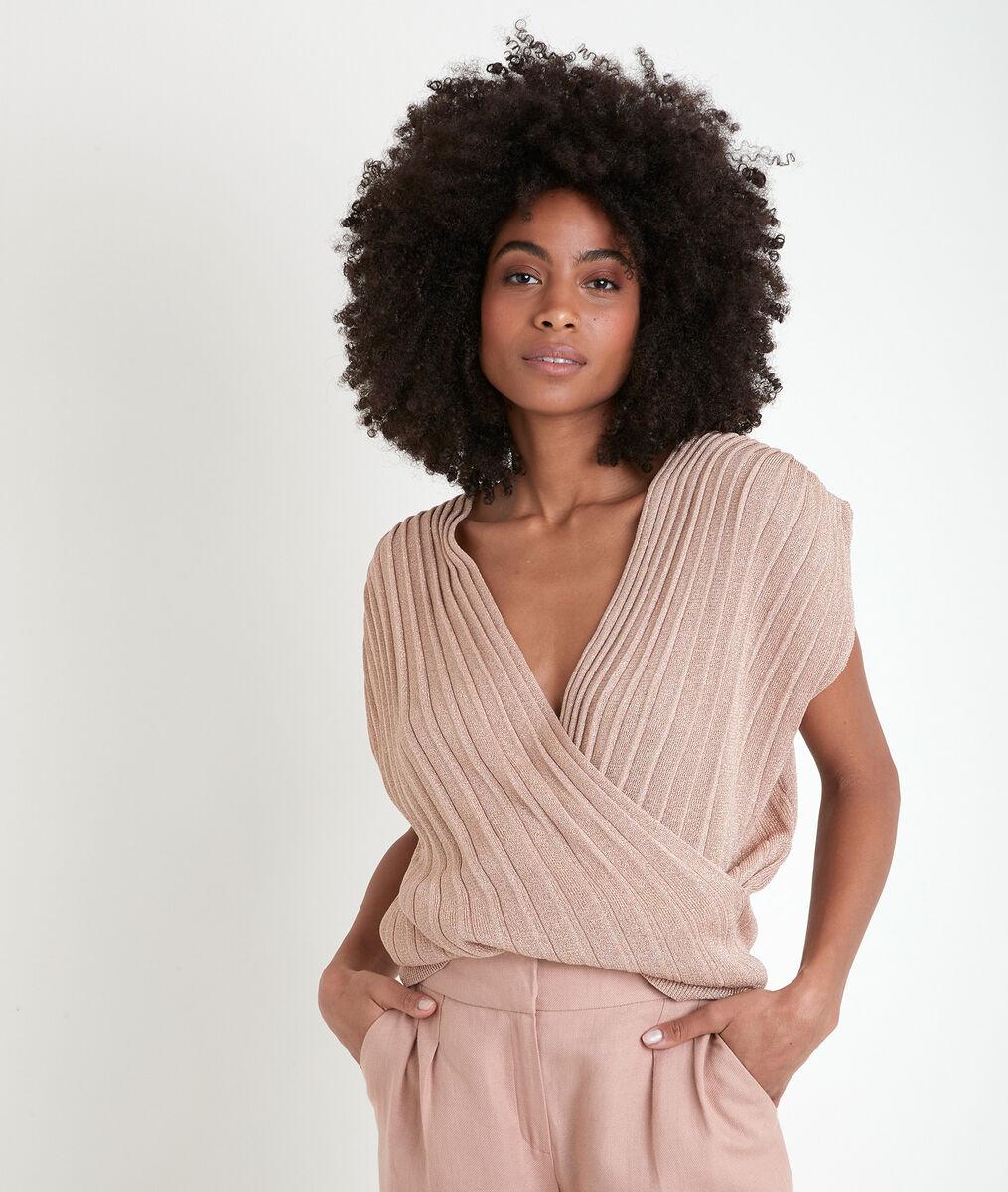 Angele pleated lurex knit top PhotoZ   1-2-3