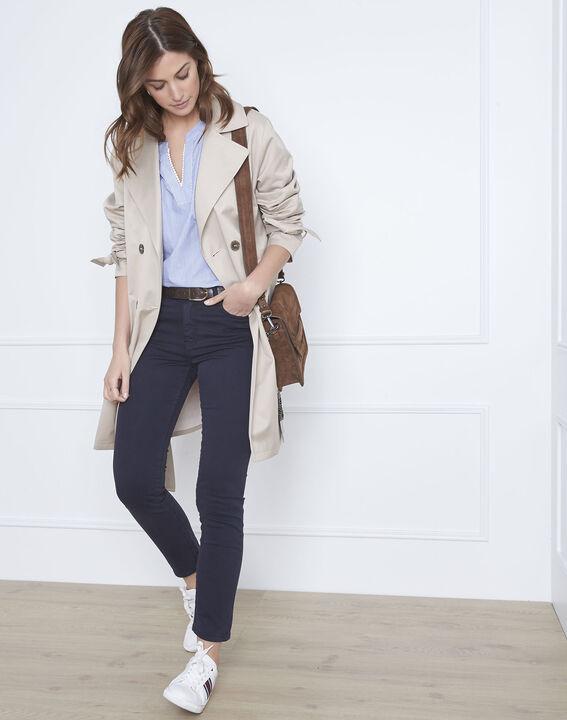 Vendome navy slim-fit 7/8-length sateen jeans (2) - Maison 123