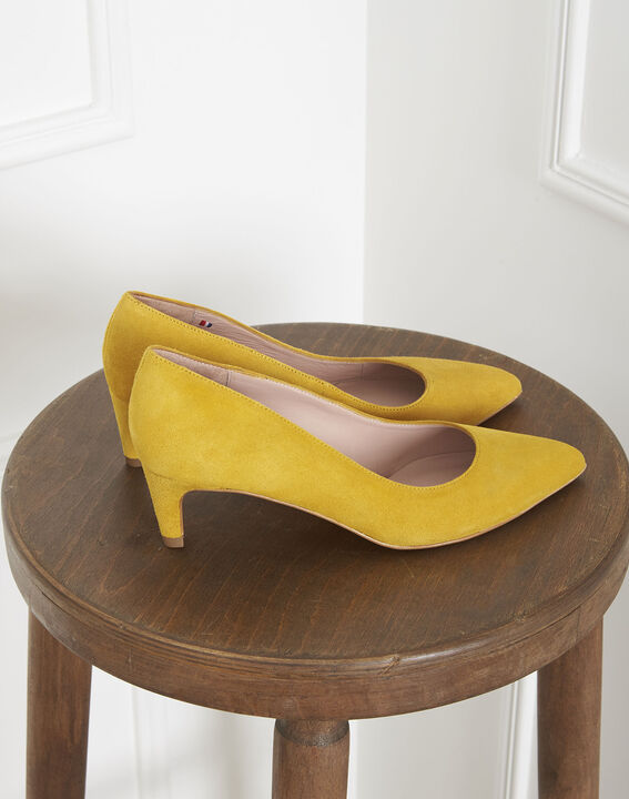 Lili yellow suede leather high heels PhotoZ | 1-2-3