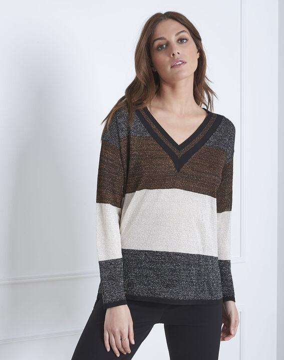 Artiste brown jumper with lurex stripes PhotoZ | 1-2-3