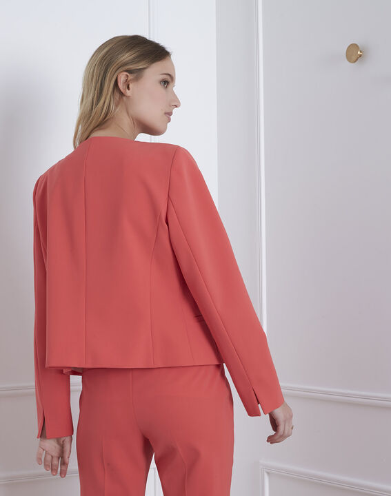 Charme coral microfibre and grosgrain jacket (4) - Maison 123