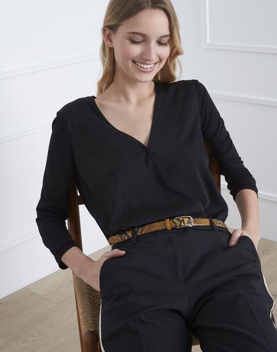 Black bi-material wrap around blouse (1) - Maison 123