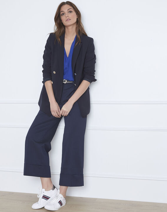 Gabin loose fit blue trousers with creases PhotoZ | 1-2-3