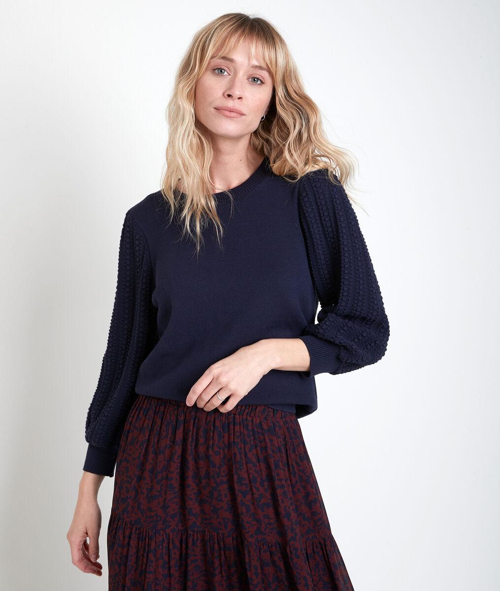 AUBE blue decorative knit jumper PhotoZ | 1-2-3