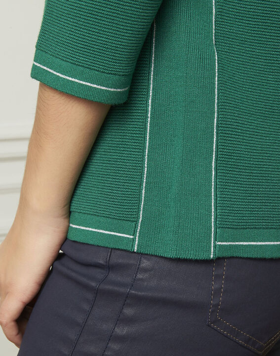 Avocado green pullover with buttons and lurex details (4) - Maison 123