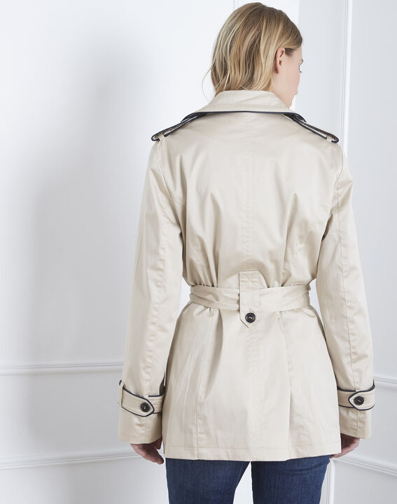 Dorine short beige trench coat with contrasting bias (4) - Maison 123