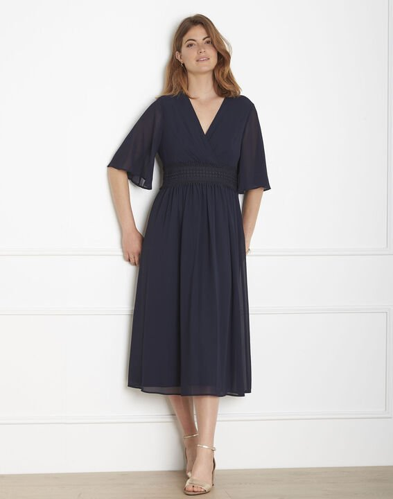 Helene navy wrap-over macramé dress (1) - Maison 123