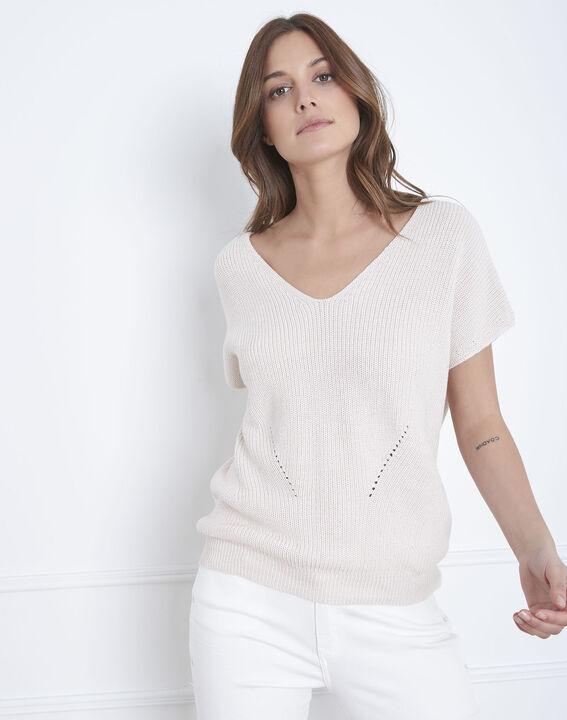 Annecy powder pink openwork knit jumper (2) - Maison 123