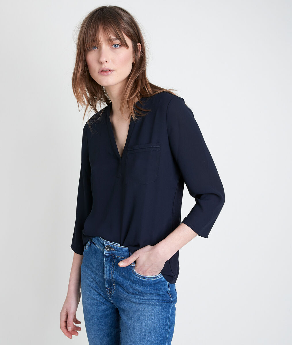WITNEY two-fabric navy top PhotoZ | 1-2-3
