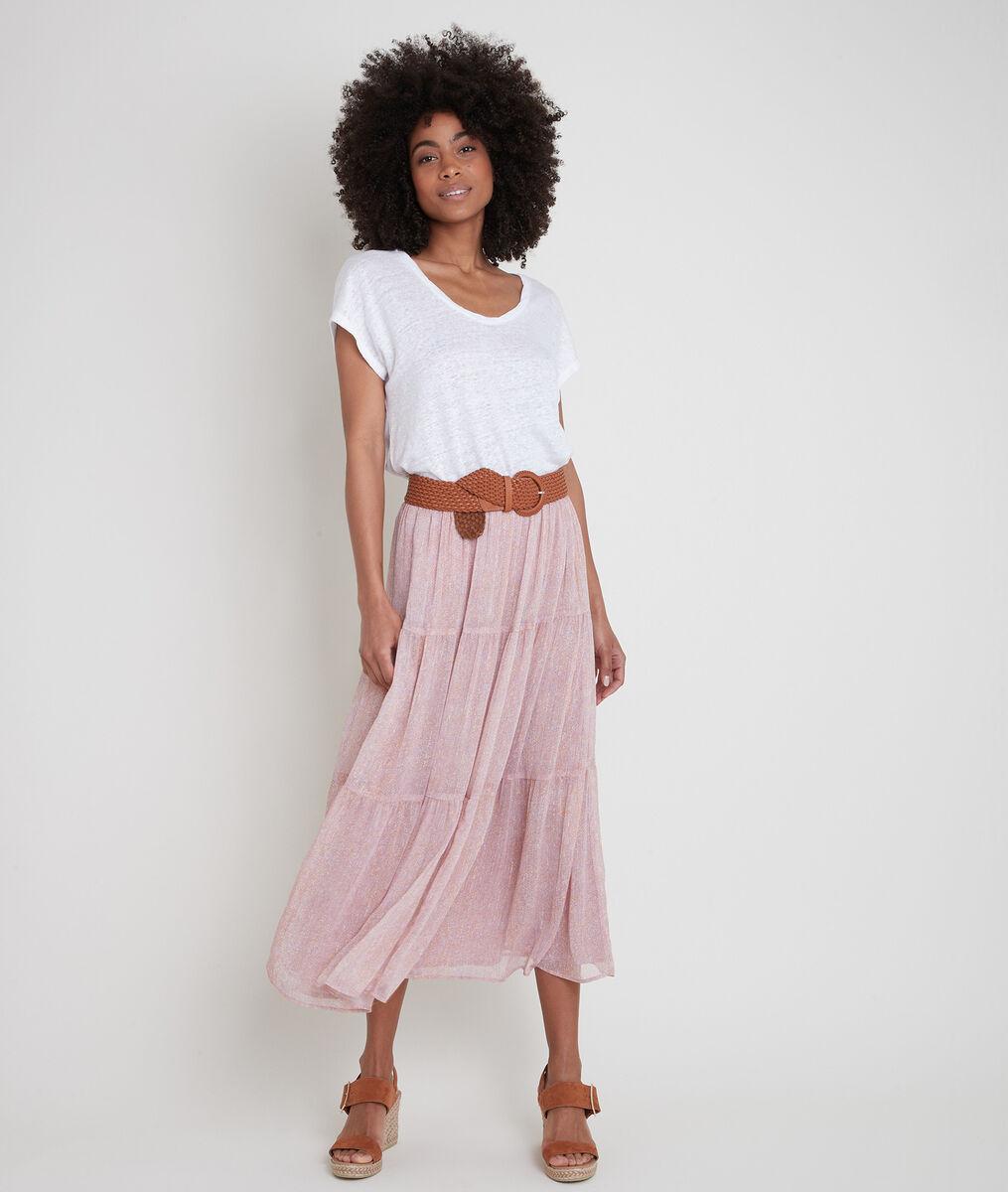 Elina pink printed floaty skirt PhotoZ   1-2-3