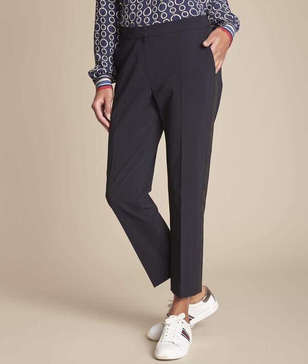 Suzanne navy microfibre cigarette trousers PhotoZ   1-2-3