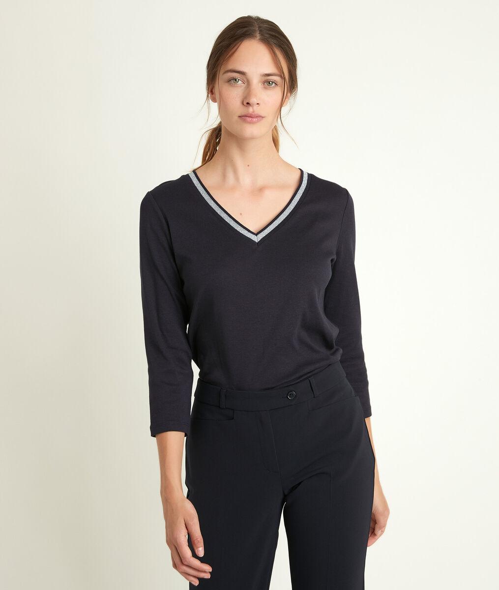 Calypso ink T-shirt with decorative neckline PhotoZ | 1-2-3