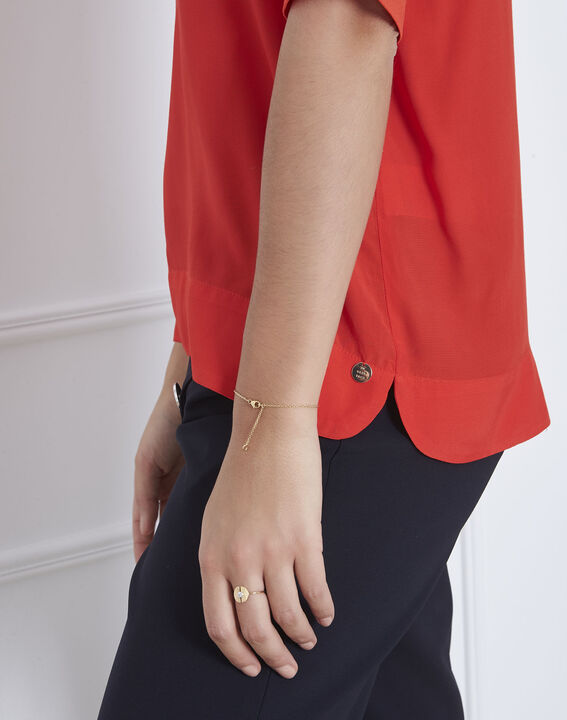 Virginie red V-neck flowing blouse (3) - Maison 123