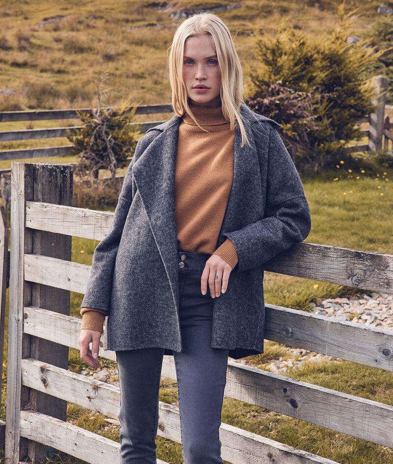 Lucile short grey marl wool coat PhotoZ   1-2-3
