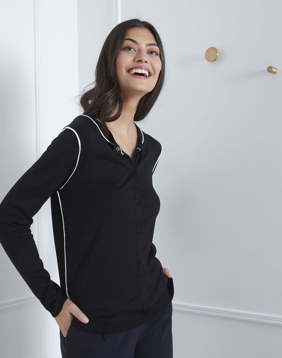 Avignon black graphic cardigan with contrast bias (1) - Maison 123