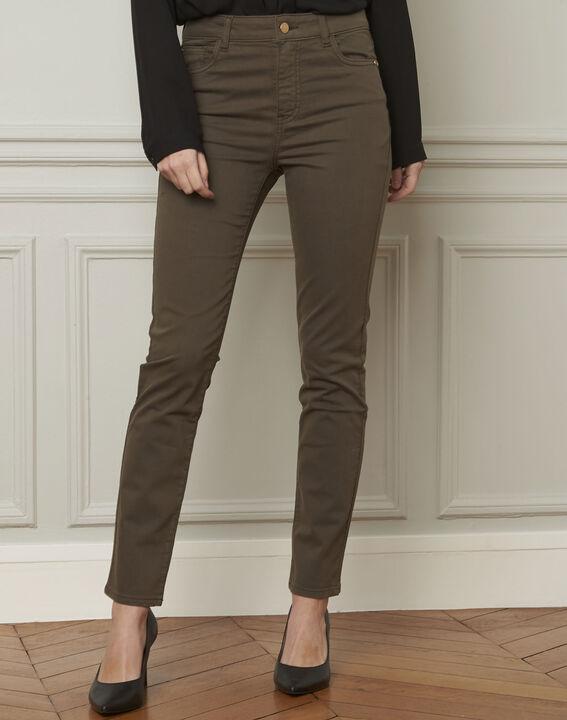 Vendome khaki slim-cut 7/8-length cotton jeans (2) - Maison 123