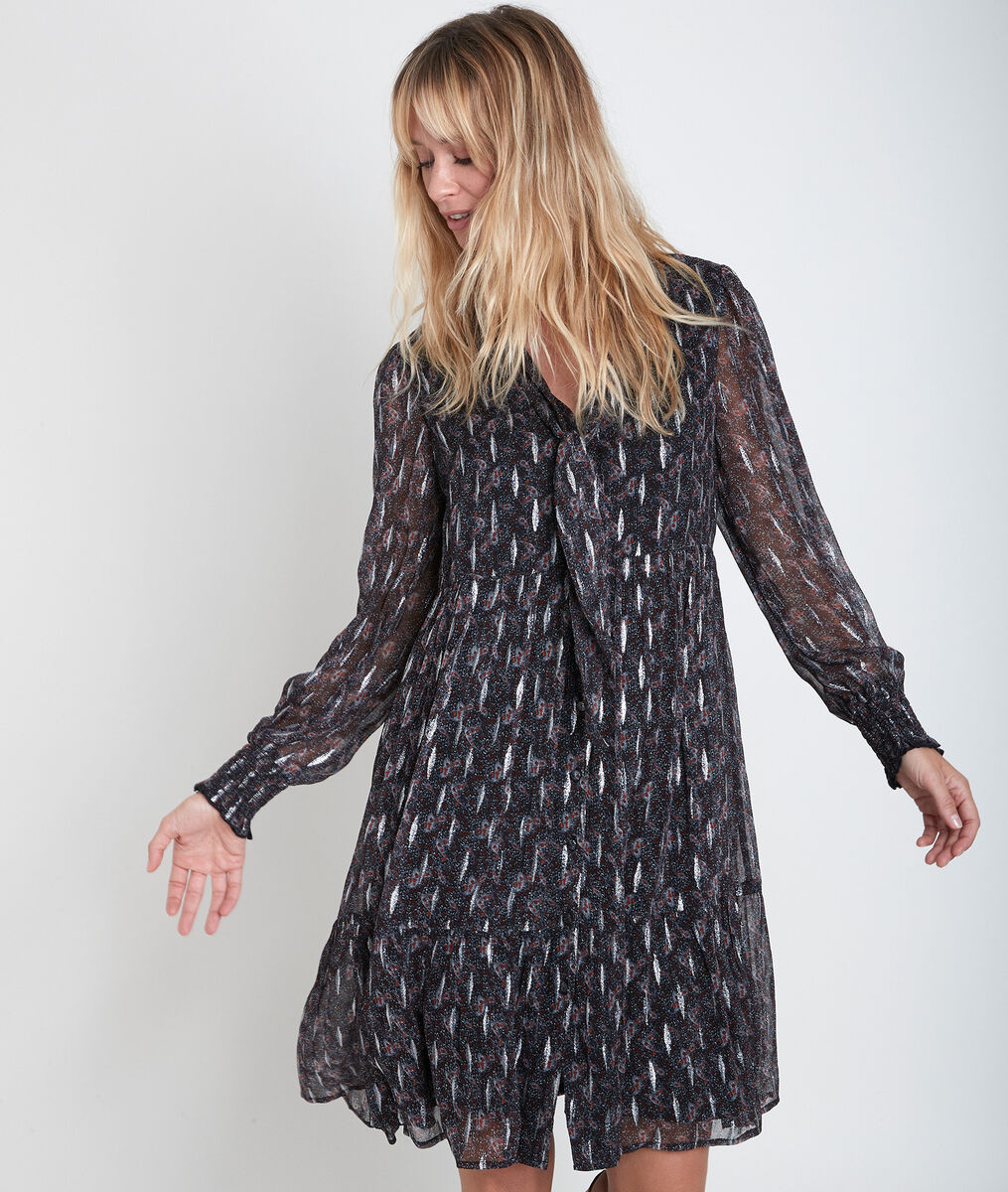 Nikki printed dress with Ascot tie PhotoZ | 1-2-3