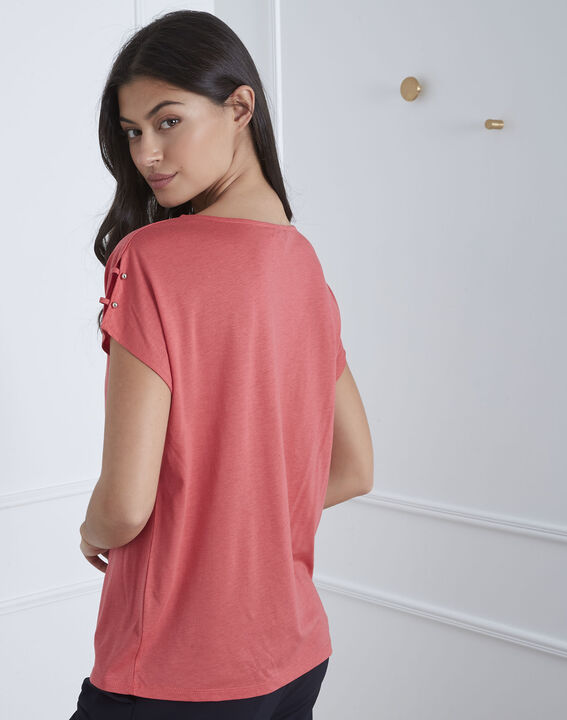 Palmbeach pink T-shirt with shoulder detailing (4) - Maison 123