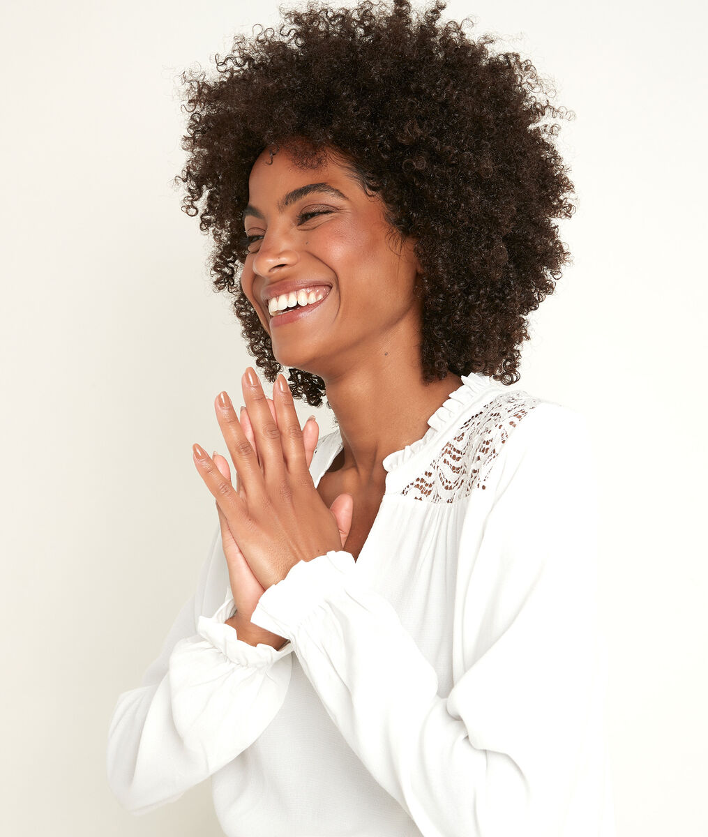 Dany lace dual-fabric blouse PhotoZ | 1-2-3