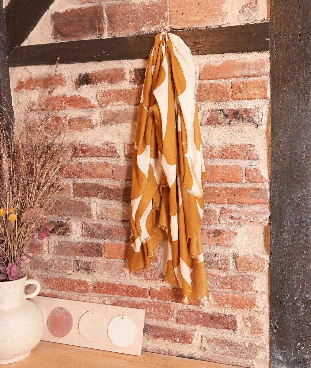 Hortensia printed saffron scarf PhotoZ | 1-2-3
