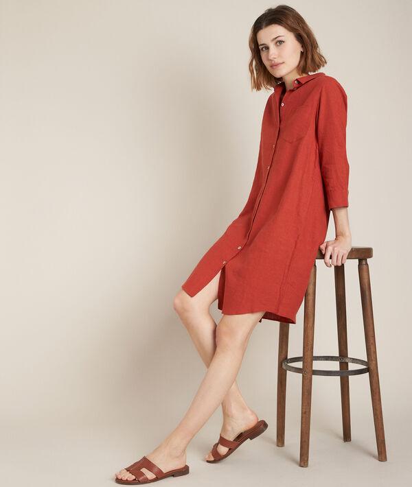 Céline terracotta linen shirt dress PhotoZ   1-2-3
