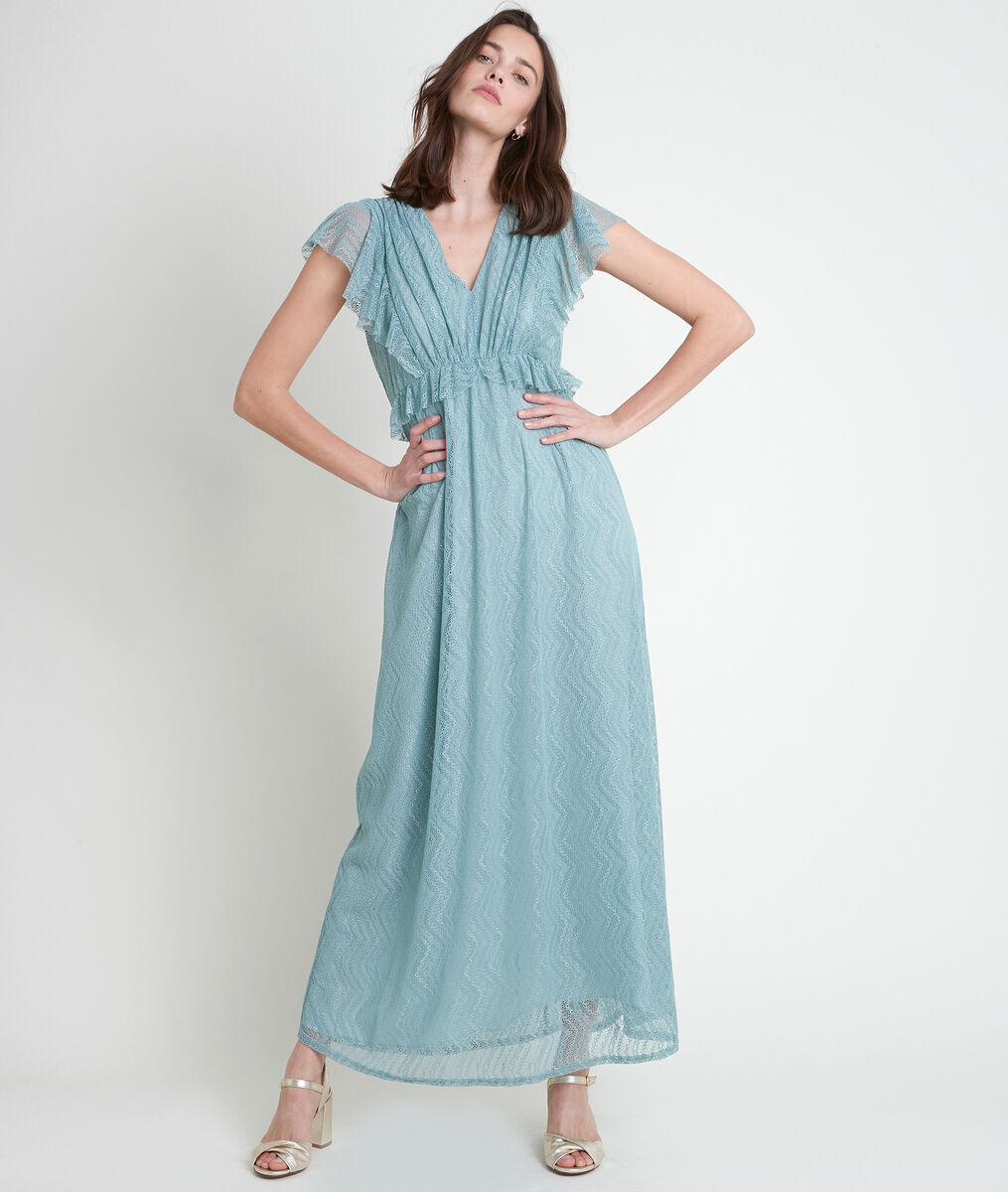 NORA celadon-coloured long lace dress PhotoZ | 1-2-3