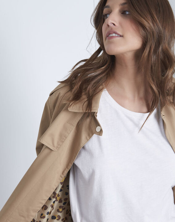 Dune beige straight-cut belted trench coat (3) - Maison 123
