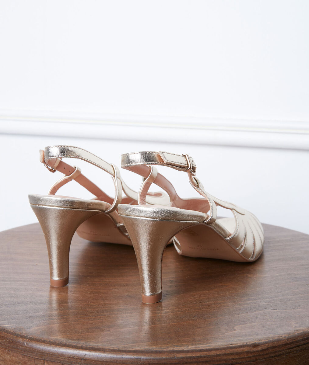 Gloria gold high heel leather sandals PhotoZ   1-2-3