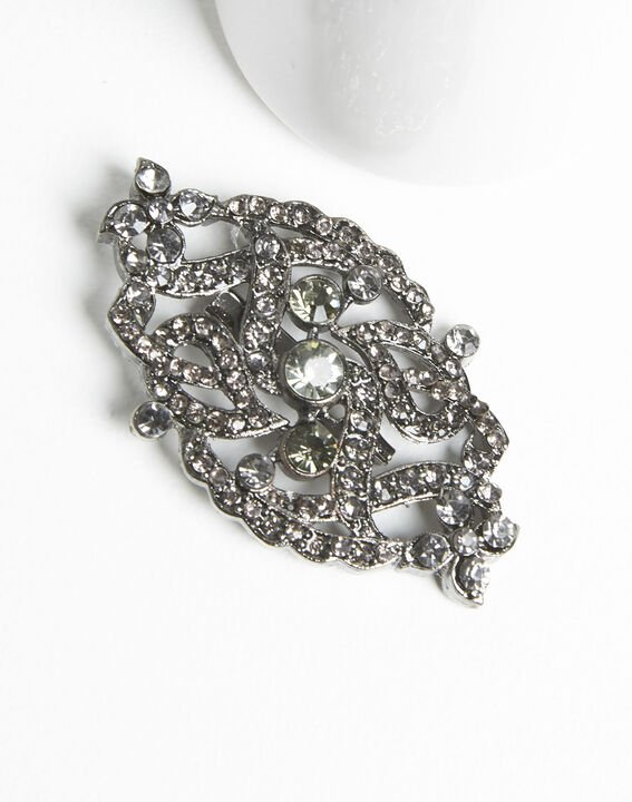 Xaviera silver plated intertwined brooch with black stones PhotoZ | 1-2-3