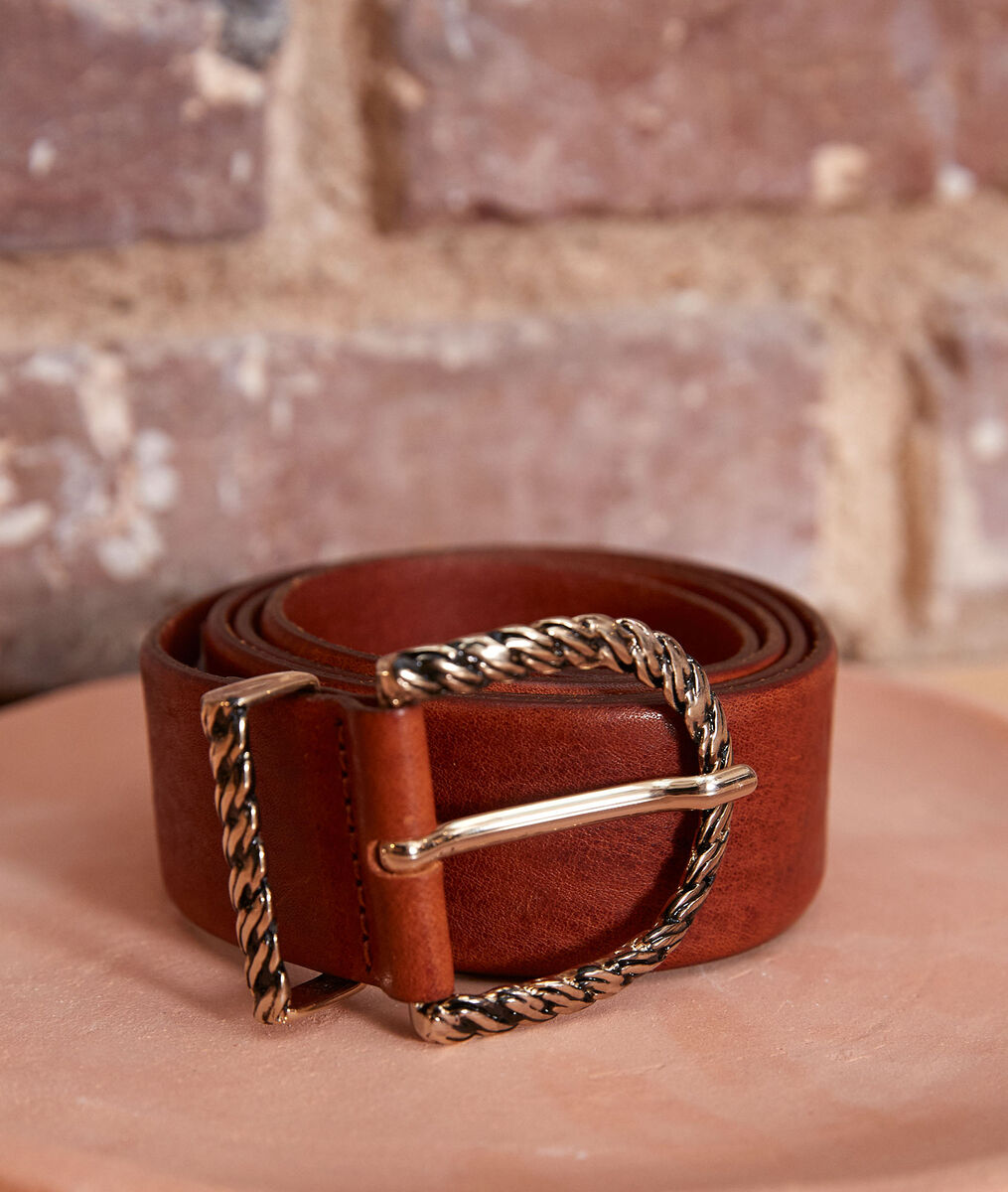Emy wide leather belt with fancy buckle  PhotoZ | 1-2-3