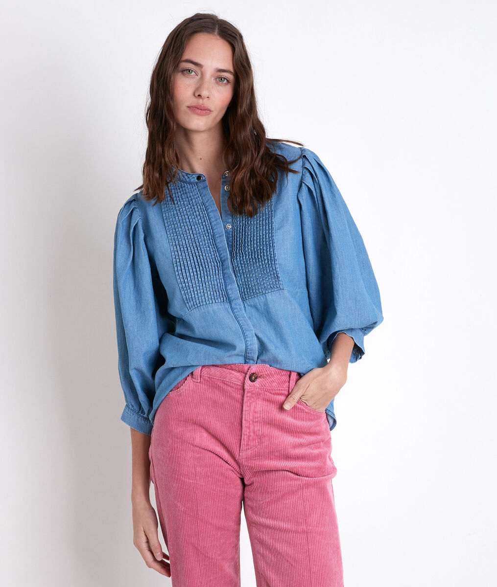 TARIKA denim pleated blouse PhotoZ   1-2-3