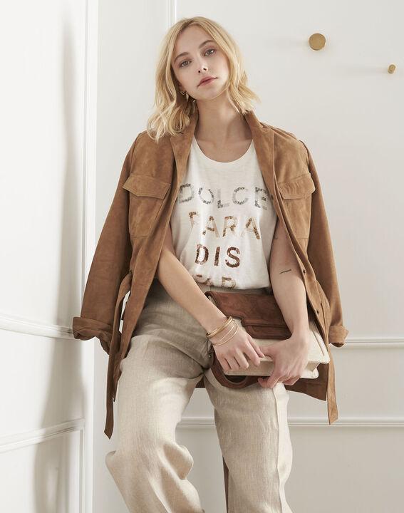 Petra ecru print slogan T-shirt PhotoZ | 1-2-3