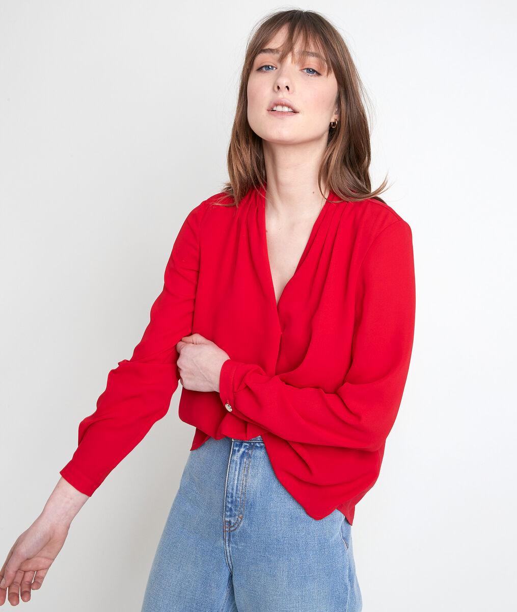 DAVINA red two-fabric blouse PhotoZ   1-2-3