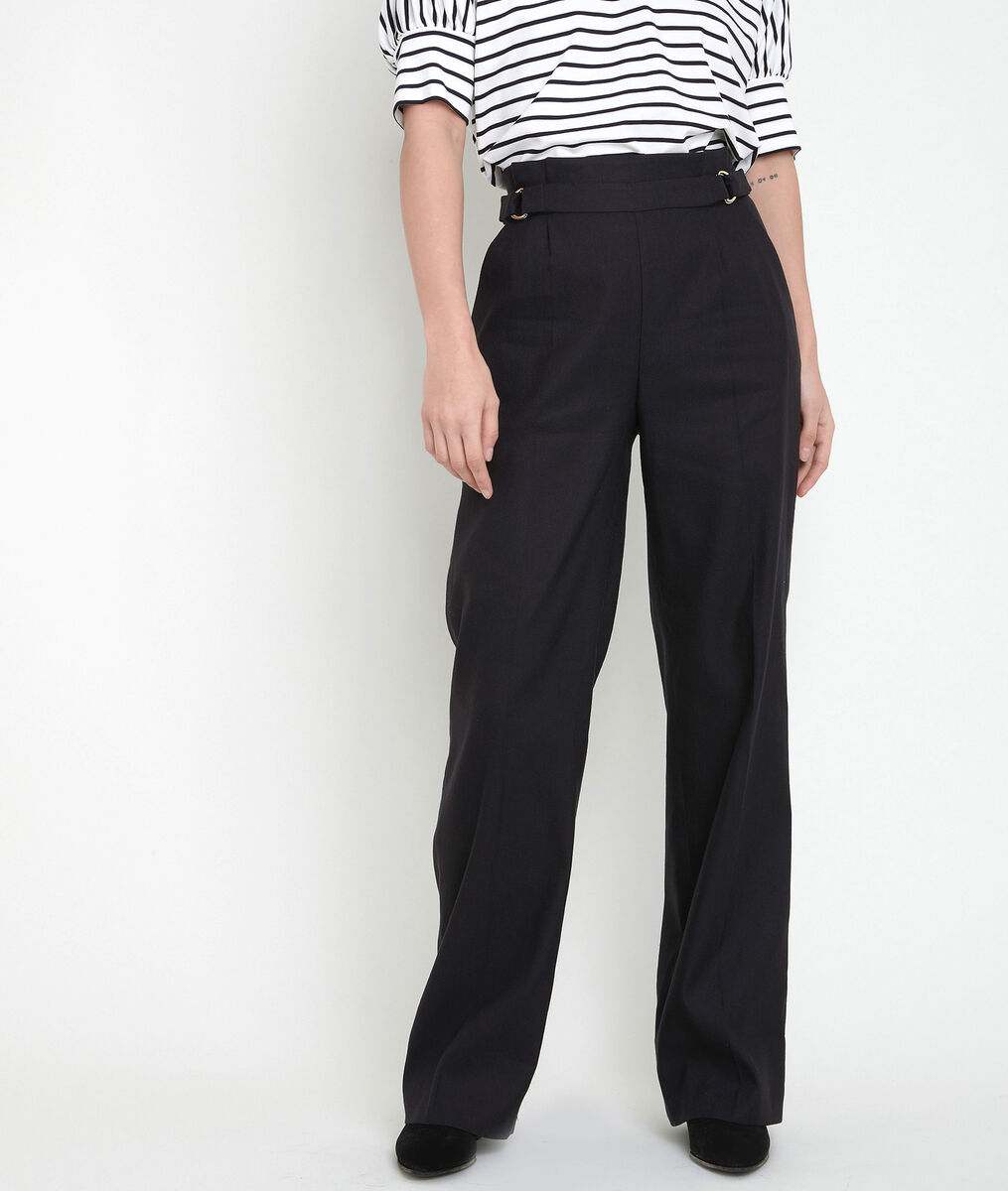 FILIPO black linen blend wide-legged trousers PhotoZ | 1-2-3