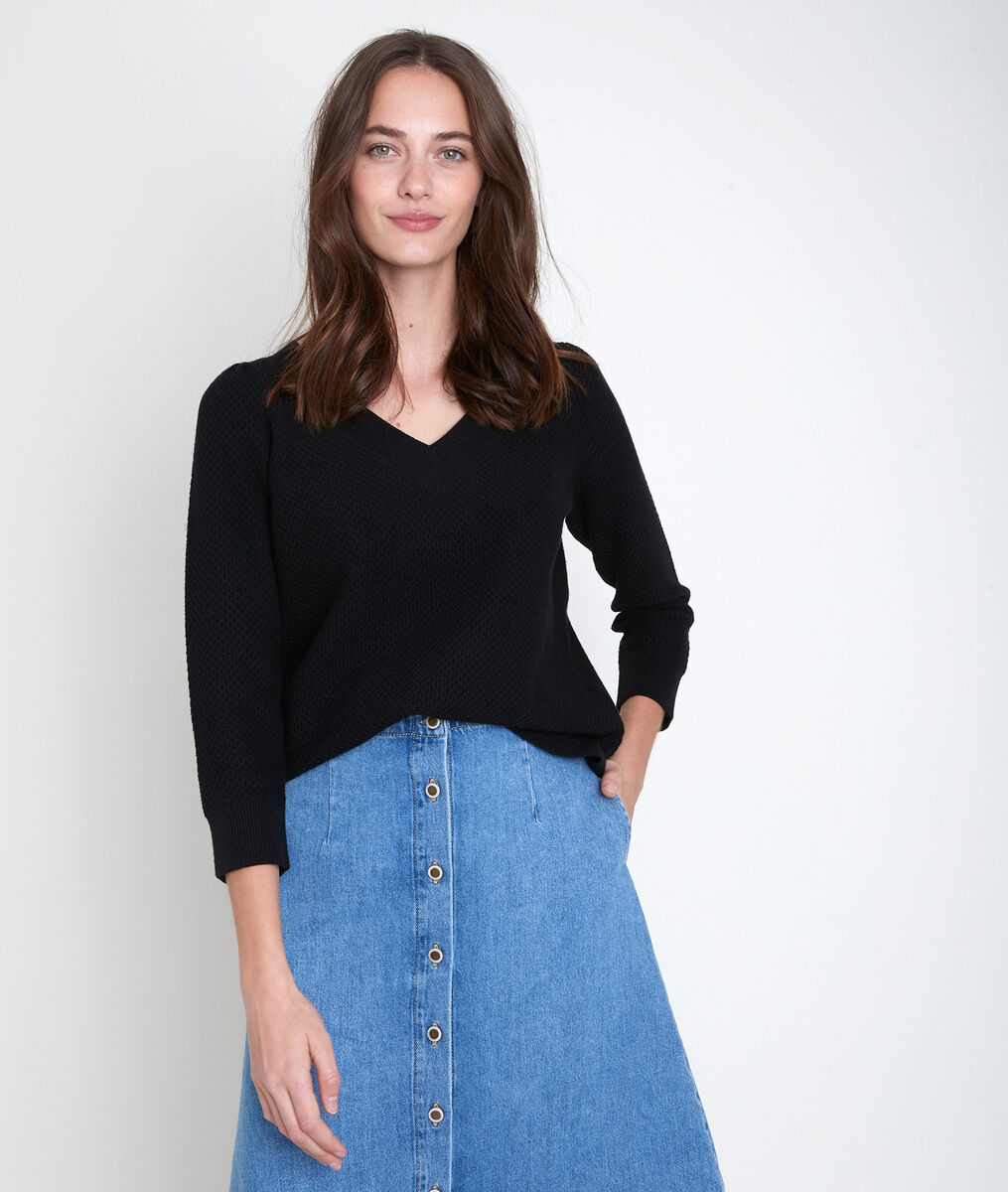 Amore black decorative knit jumper PhotoZ | 1-2-3
