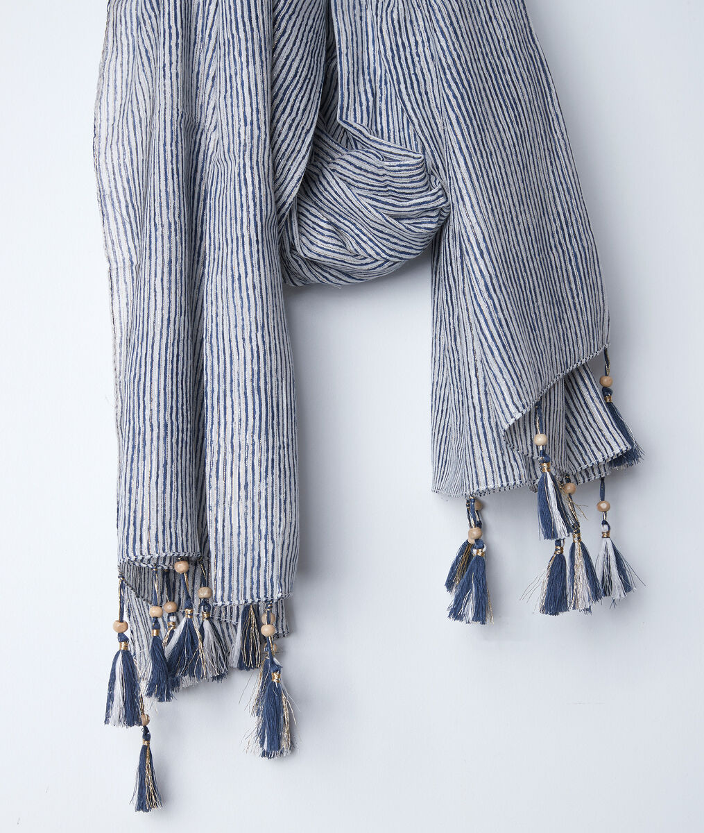 Bayron blue striped fringed scarf PhotoZ | 1-2-3