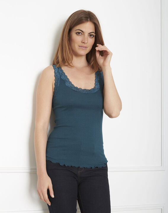 Guest green silk and cotton tank top with lace neckline PhotoZ | 1-2-3
