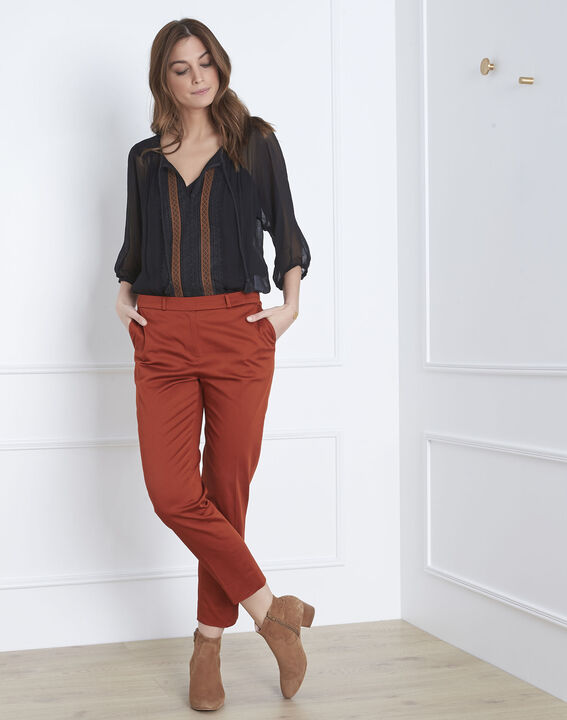Rubis mahogany cigarette-cut trousers (1) - Maison 123