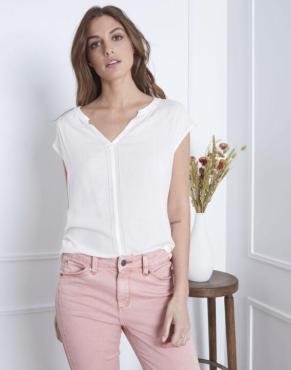 Vanissa Henly collar bimaterial beige blouse PhotoZ | 1-2-3